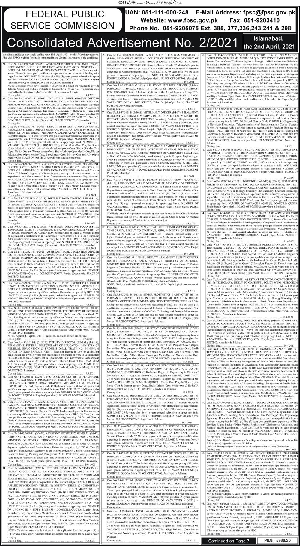 Federal Public Service Commission FPSC April Jobs 2021