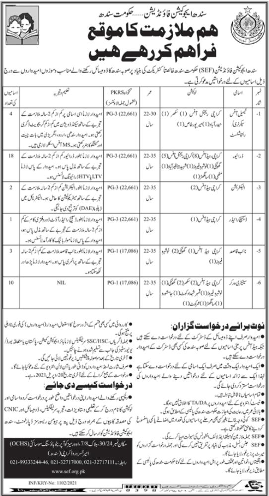 Sindh Education Foundation SEF Jobs 2021