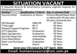 Security & Surveillance Company Jobs 2021 in Karachi