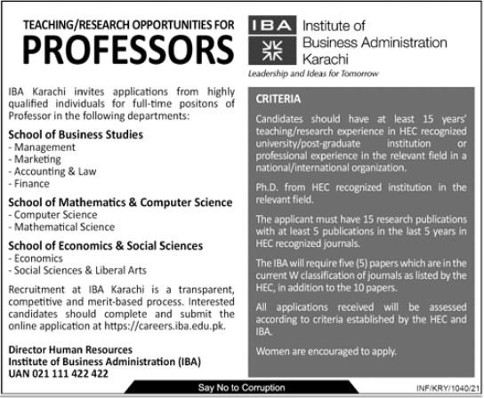 Institute of Business Administration IBA Jobs 2021