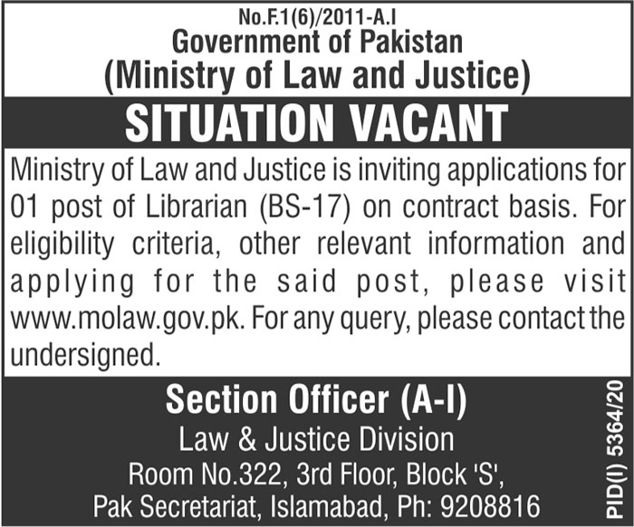 Ministry of Law and Justice Jobs 2021 in Islamabad