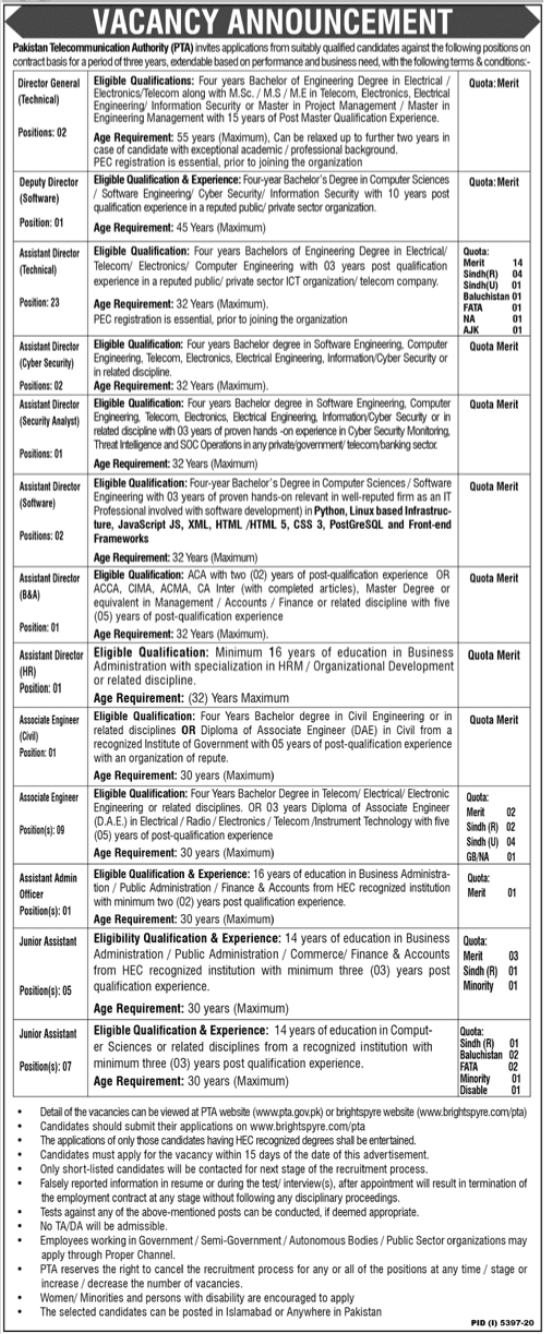 Pakistan Telecommunication Authority PTA Jobs 2021