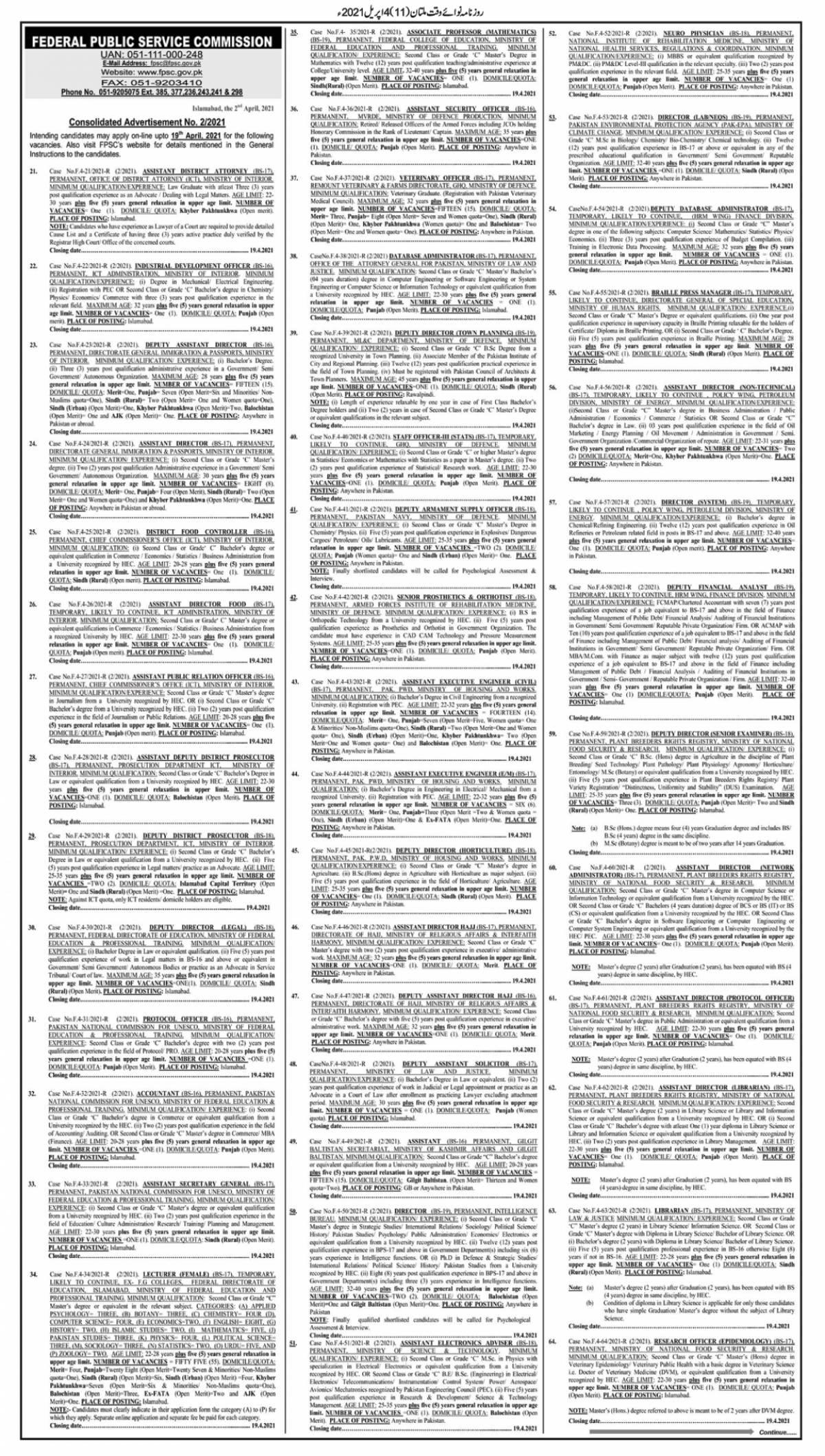 FPSC Advertisement No 2 April Jobs 2021