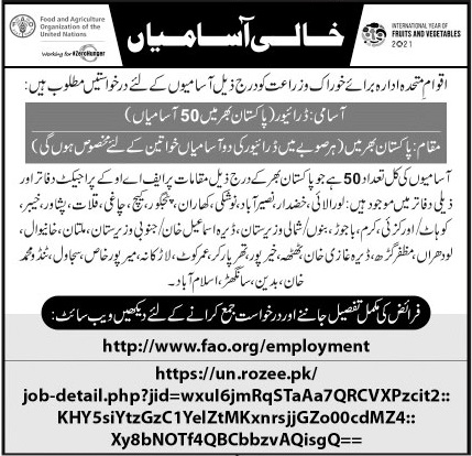 Food & Agriculture Organization FAO Jobs 2021 For Drivers