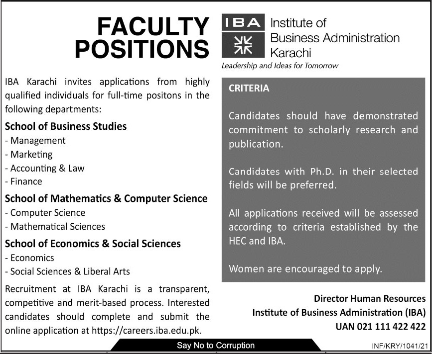 Institute of Business Administration IBA Faculty Jobs 2021