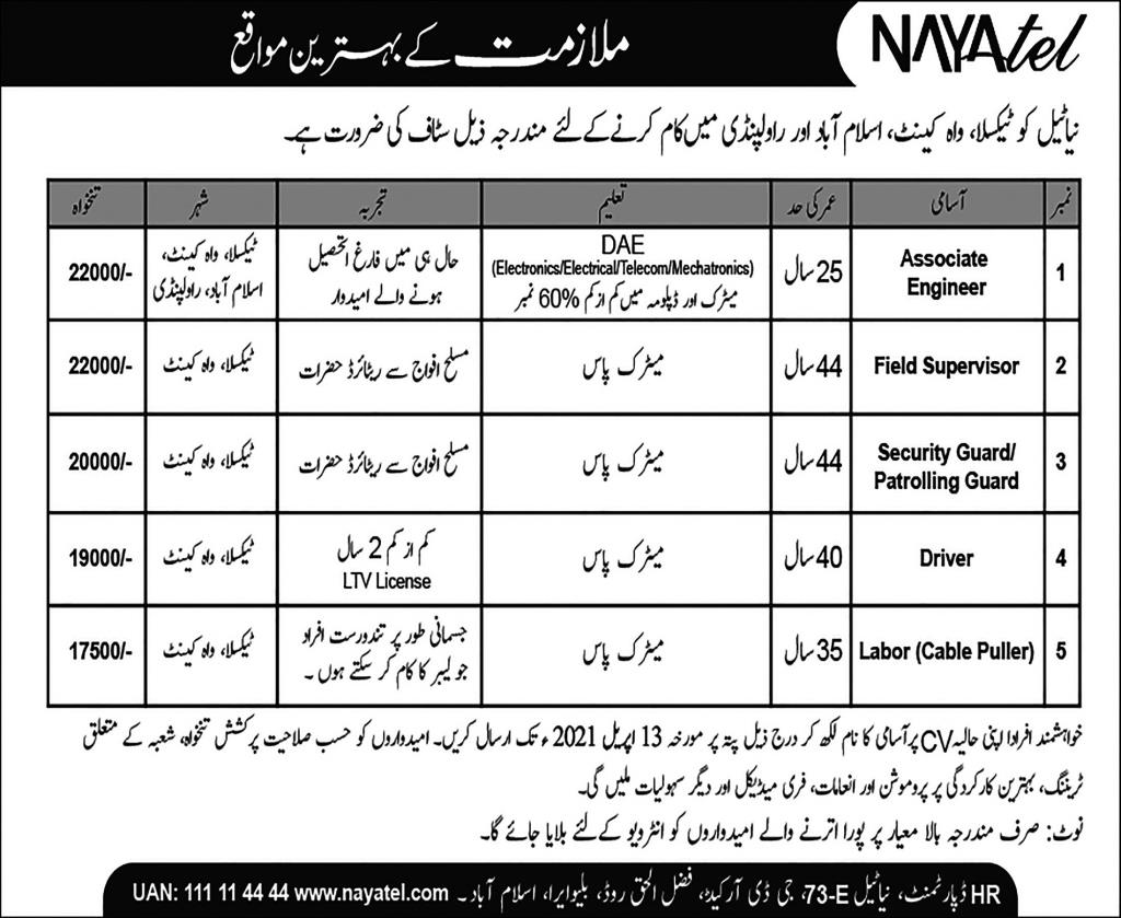 Nayatel Limited Company Jobs 2021 for Associate Engineer