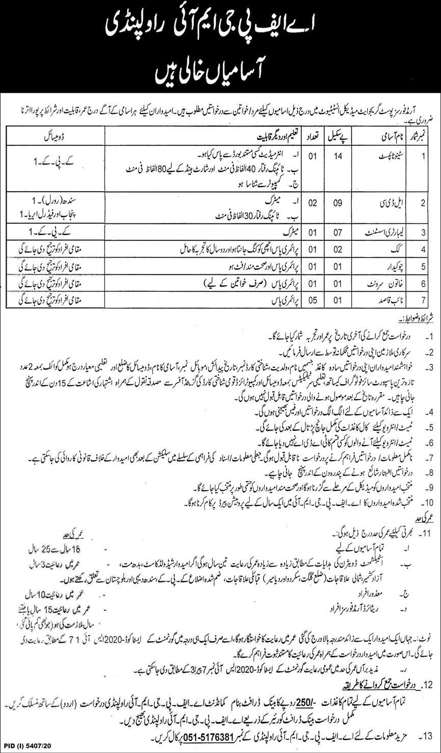 Armed Forces Postgraduate Medical Institute Jobs 2021