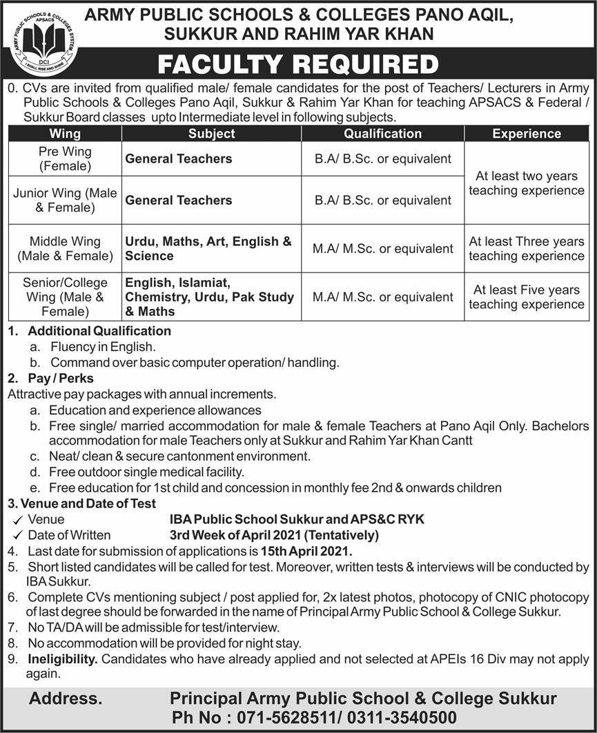 Army Public School and College APSC Jobs 2021