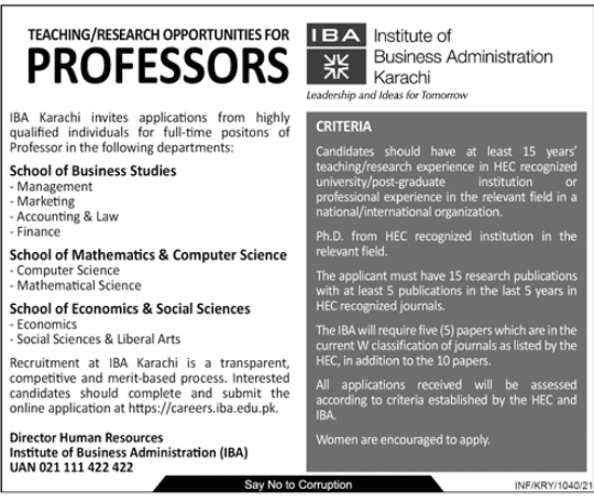 Institute of Business Administration IBA Jobs For Professors