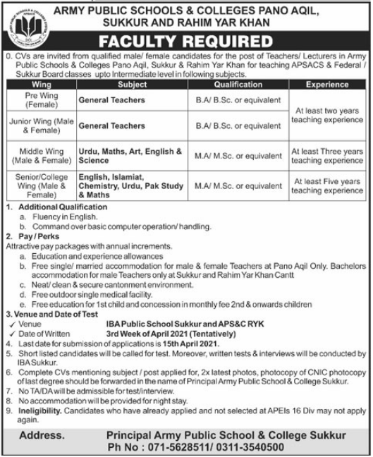 Army Public Schools & Colleges Jobs 2021 For Teaching Staff