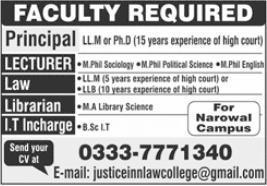 Law College Jobs 2021 in Narowal
