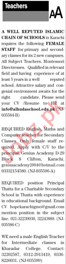 The News Sunday Classified Ads 4 April 2021 for Teaching
