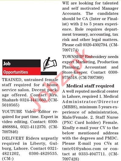 The News Sunday Lahore Classified Ads 4 April 2021