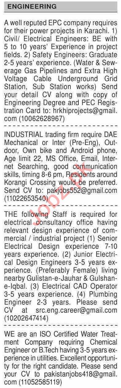 Dawn Sunday Classified Ads 4 April 2021 Engineering Staff