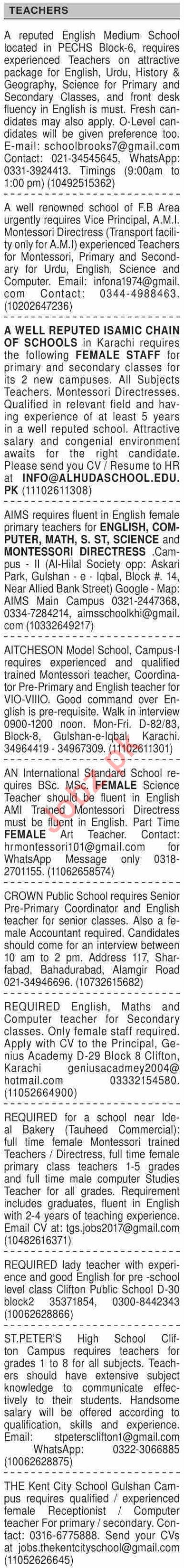 Dawn Sunday Classified Ads 4 April 2021 for Teaching Staff