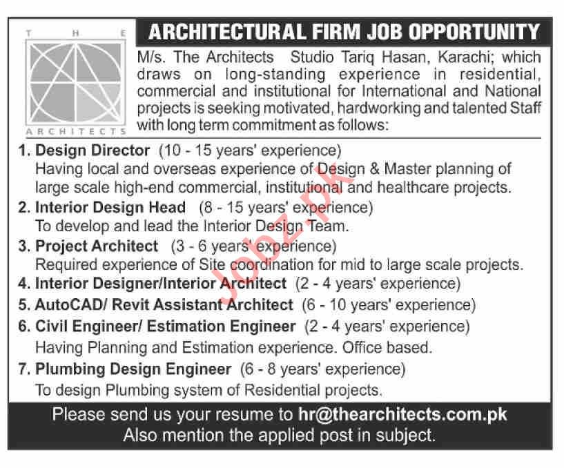 The Architects Karachi Jobs 2021 for Design Directors