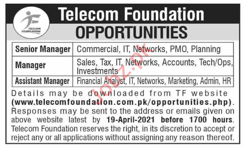 Telecom Foundation Islamabad Jobs 2021 for Managers