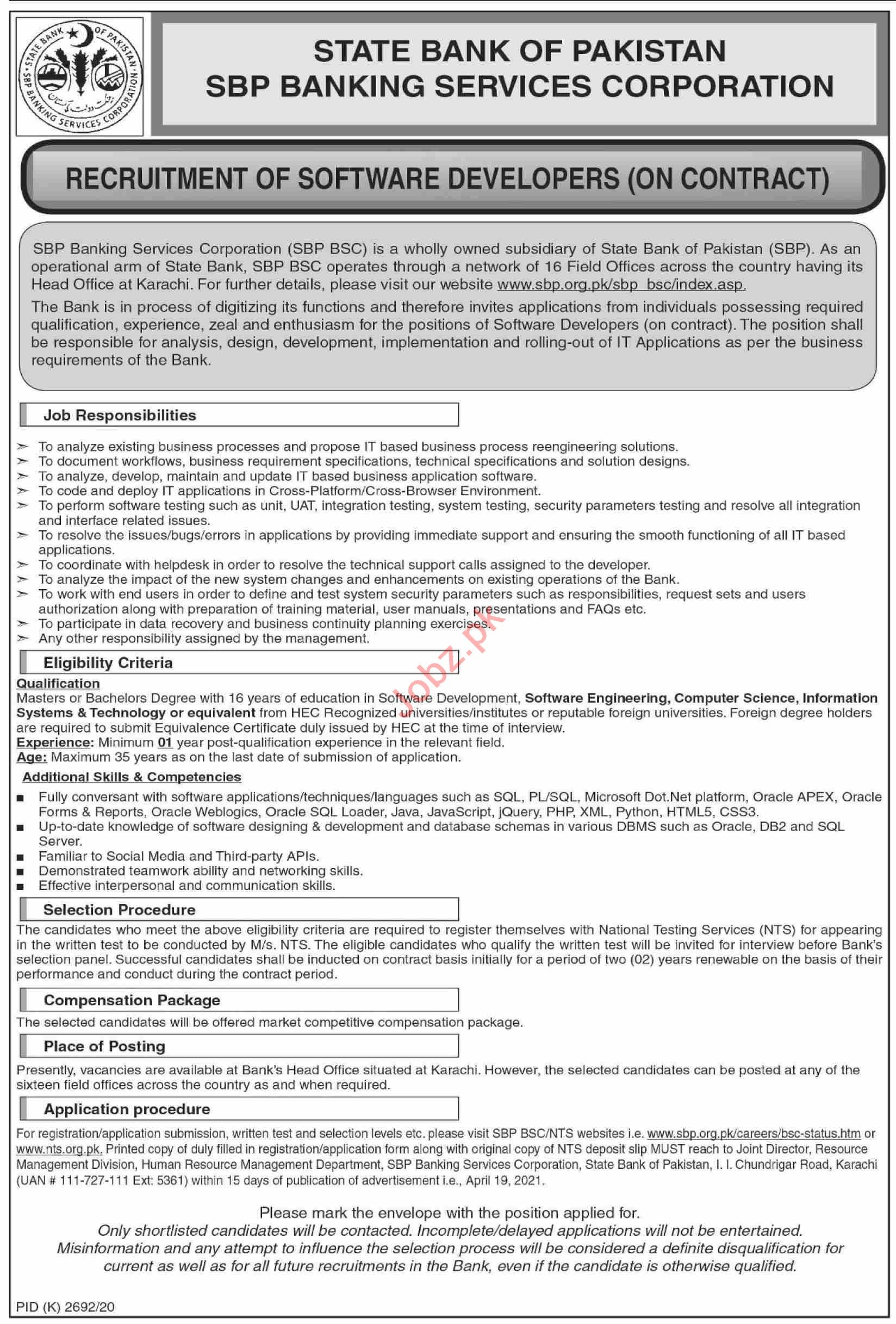 SBP BSC Banking Services Corporation Karachi Jobs 2021