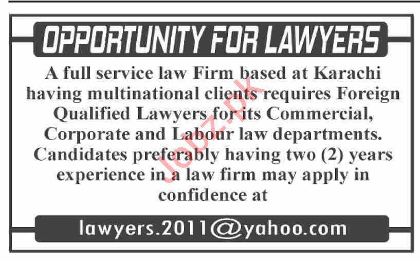 Lawyer & Advocate Jobs 2021 in Karachi