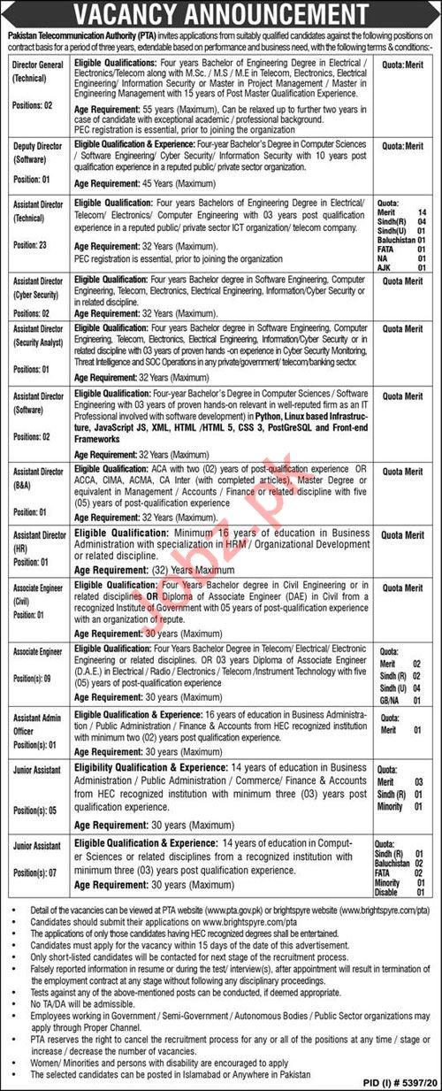 Pakistan Telecommunication Authority PTA Jobs 2021 Directors