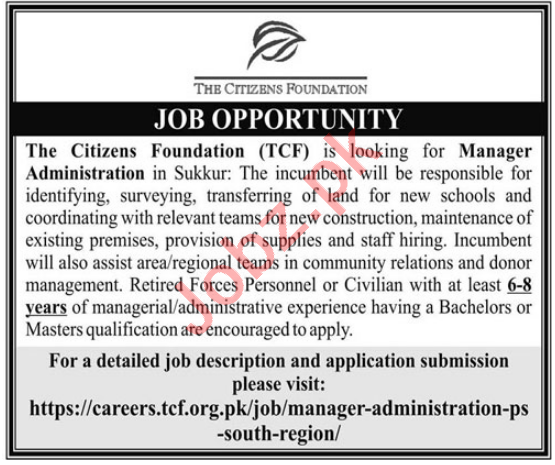 The Citizens Foundation TSF Sukkur Jobs 2021 for Managers