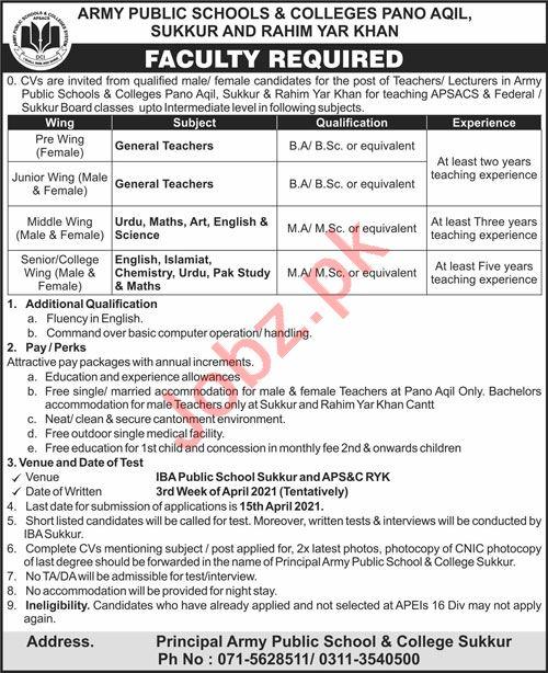 Army Public School & College APS&C Pano Aqil Jobs 2021
