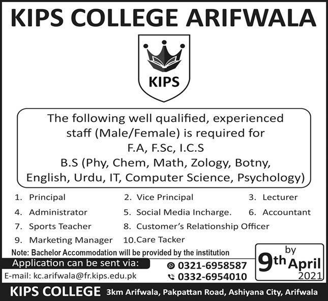 Kips College Jobs 2021 in Arifwala