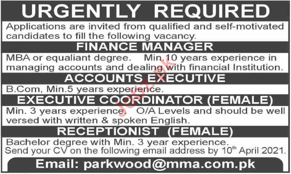 Finance Manager & Accounts Executive Jobs 2021 in Karachi