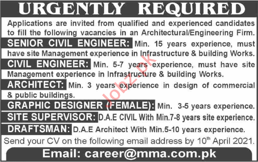 Senior Civil Engineer & Civil Engineer Jobs 2021 in Karachi