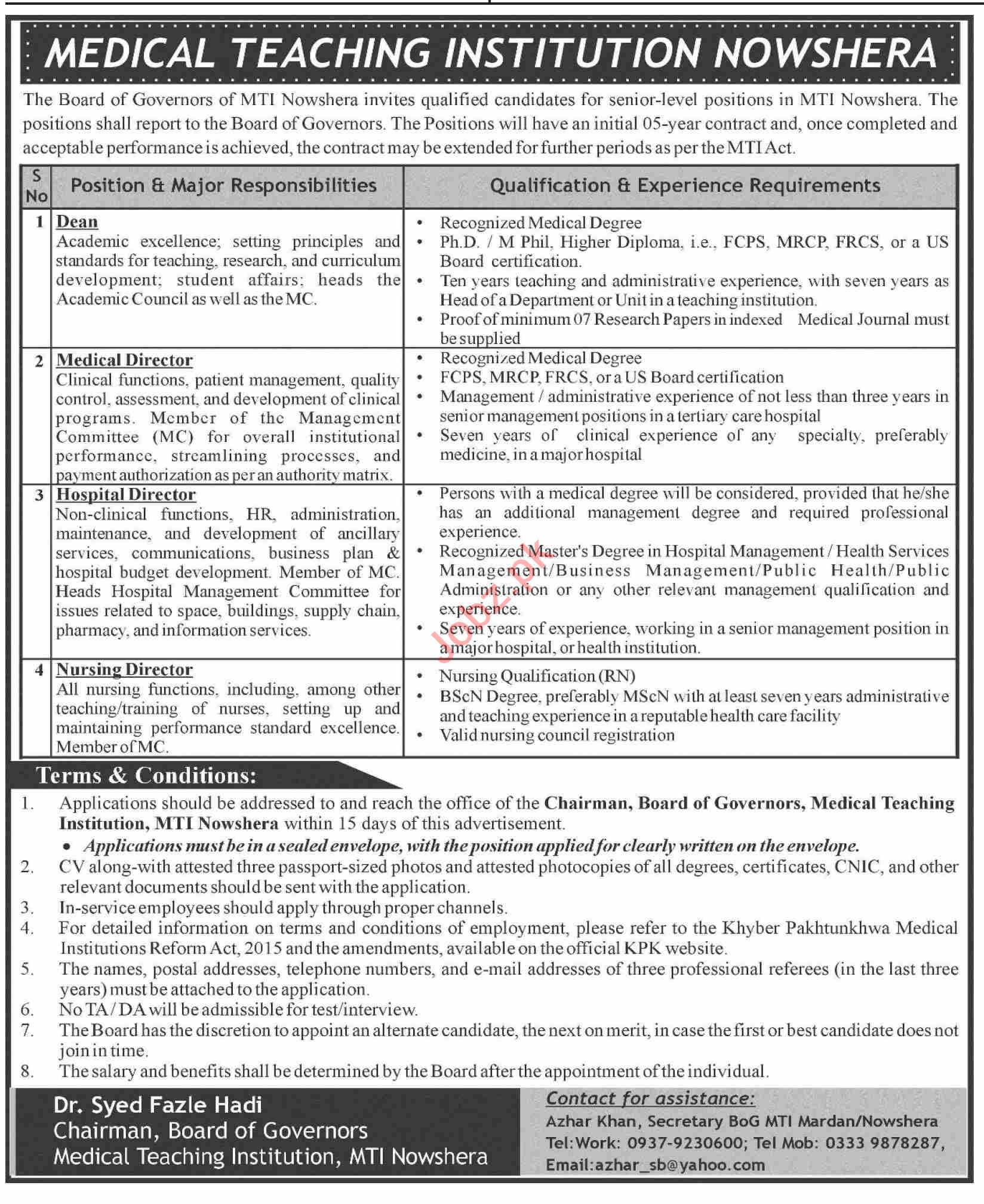 The Board of Governors MTI Nowshera Jobs 2021 for Dean