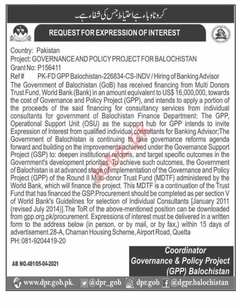 Governance & Policy Project GPP Balochistan Jobs 2021