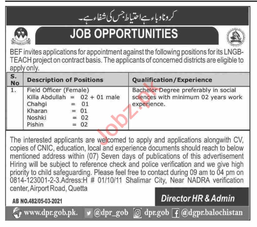 Balochistan Education Foundation BEF Quetta Jobs 2021