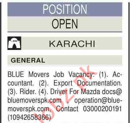 Blue Movers Karachi Jobs 2021 for Accountant & Drivers
