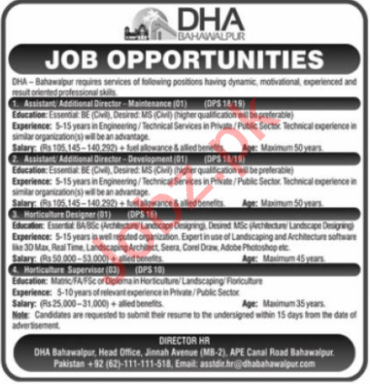 Defence Housing Authority DHA Bahawalpur Jobs 2021