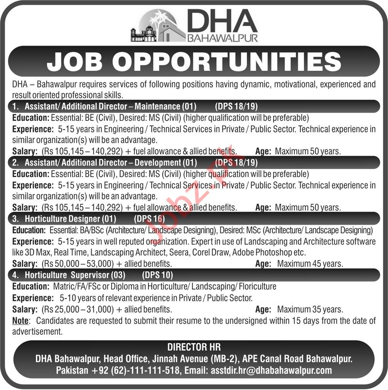 DHA Bahawalpur Jobs 2021 for Assistant Director & Supervisor
