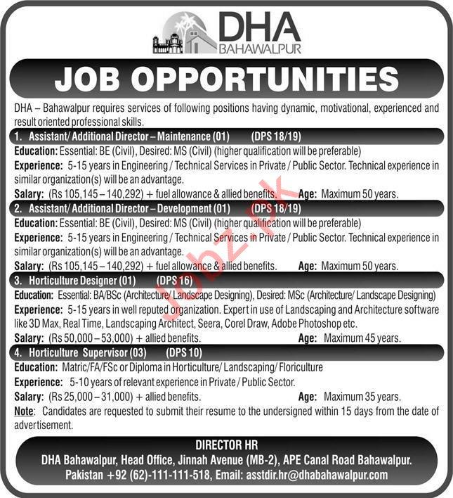DHA Bahawalpur Jobs 2021 for Horticulture Supervisor