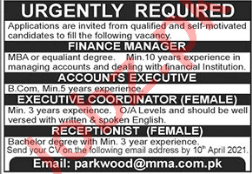 MMA Pakistan Jobs 2021 for Receptionist & Finance Manager