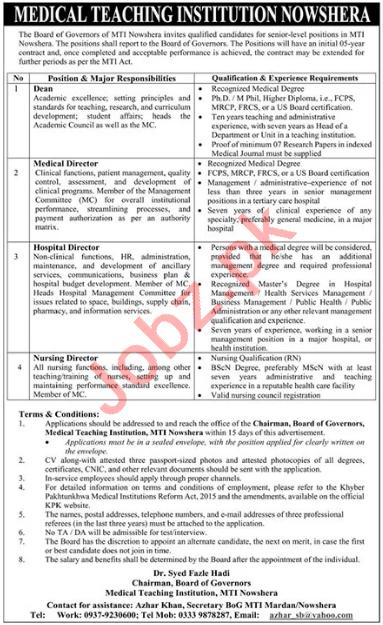 MTI Nowshera Jobs 2021 for Hospital & Nursing Director