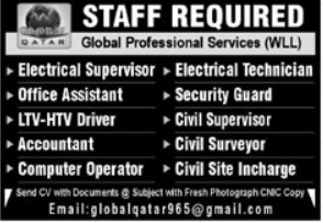 Global Professional Services WLL Jobs 2021 in Qatar