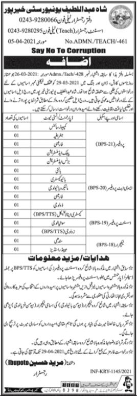 Shah Abdul Latif University Jobs 2021 in Khairpur