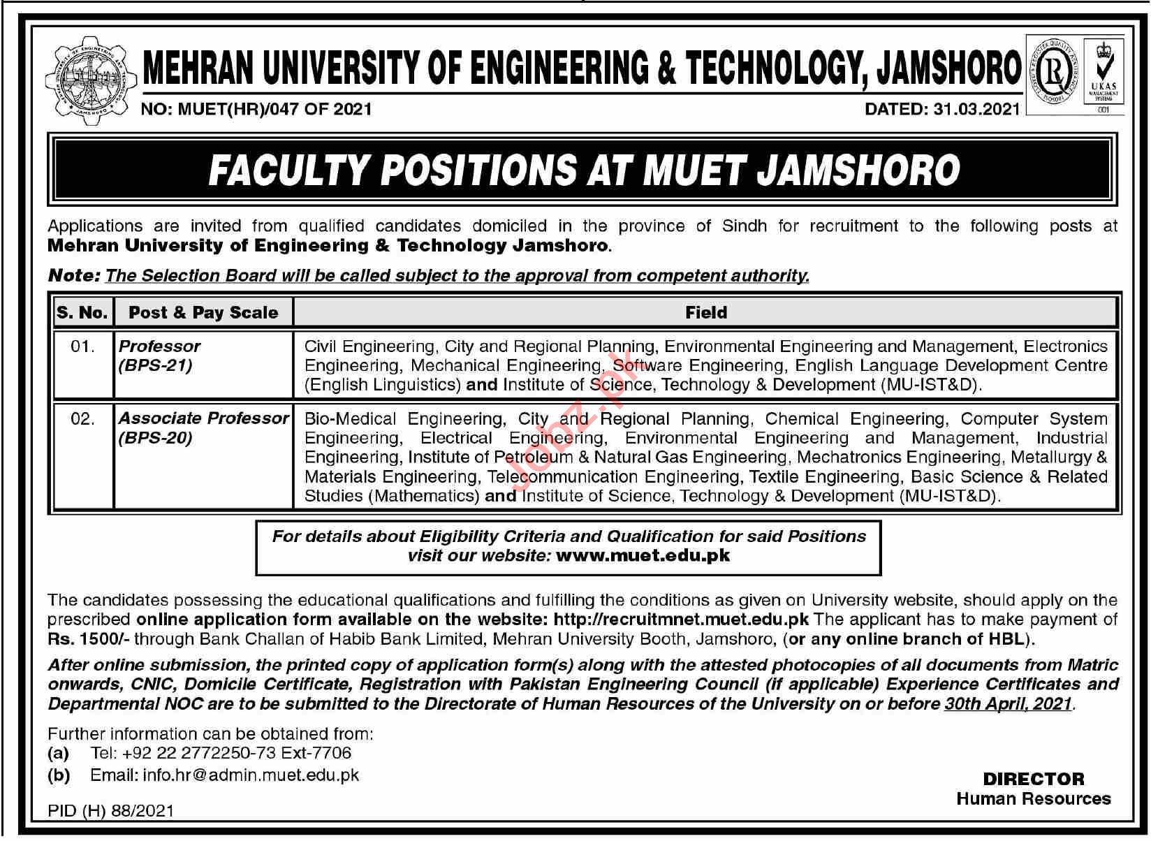 Mehran University of Engineering & Technology MUET Jobs 2021