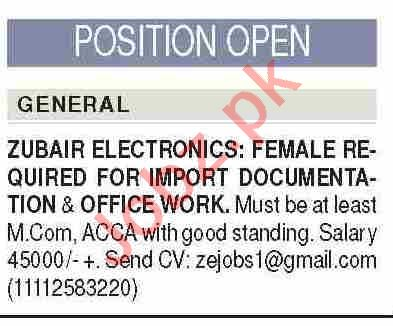 Zubair Electronics Karachi Jobs for Female Import Manager