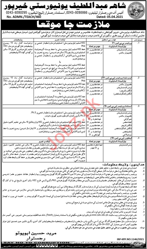 Shah Abdul Latif University Khairpur Teaching Staff Jobs