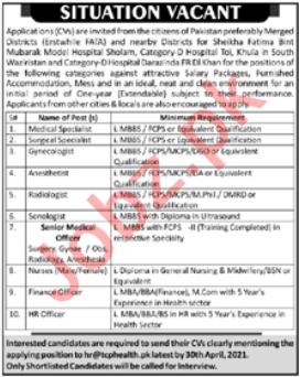 District Headquarter Hospital DHQ KPK Jobs 2021 for Doctors