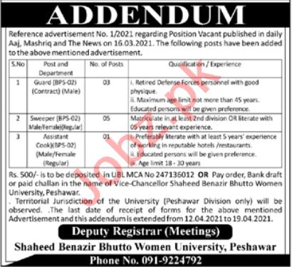 Shaheed Benazir Bhutto Women University SBBWU Jobs 2021