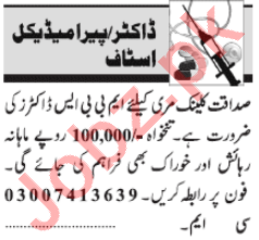 Medical Officer & ICU Technician Jobs 2021 in Lahore
