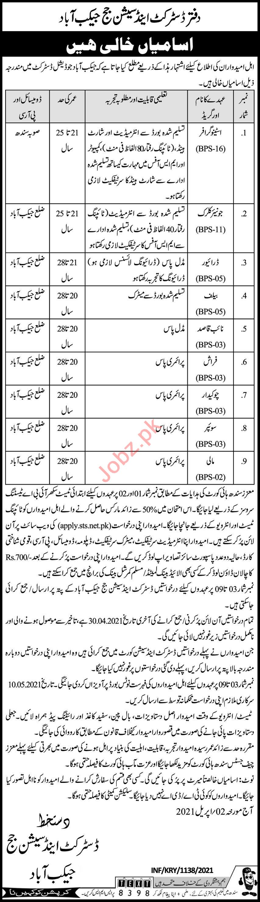 District & Session Court Jacobabad Jobs 2021 for Clerks