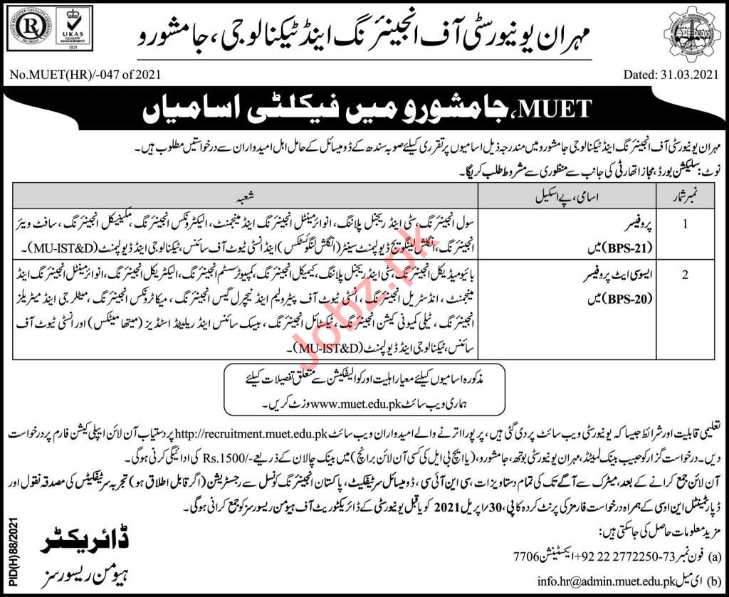 Mehran University MUET Jamshoro Faculty Jobs 2021