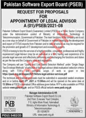 Pakistan Software Export Board PSEB Jobs 2021 Legal Advisor