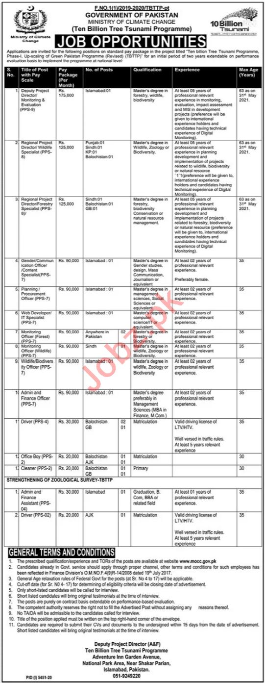 Ten Billion Tree Tsunami Programme TBTTP Islamabad Jobs 2021